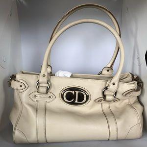 Christian Dior cream colored shoulder purse